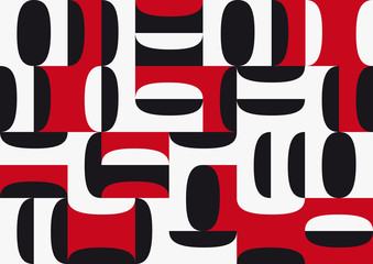 Fototapeta Digital painting. Abstract geometric colorful vector background, in red, black and white