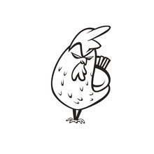 Angry Chicken Logo Vector Illu...