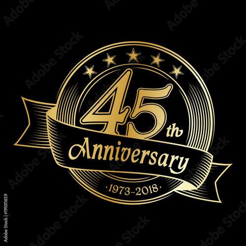 Photographie  45th anniversary design template. Vector and illustration.
