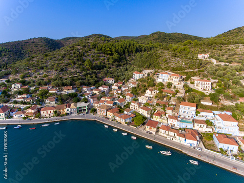 Spoed Foto op Canvas Zanzibar Vathy Ithaca Greece birds aerial view (Ithaka or Ithaki)