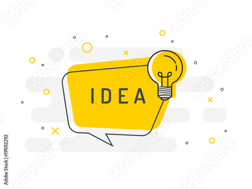 Quick Tips badge with light bulb and speech bubble. Trendy flat vector on white background. Vector Illustration.