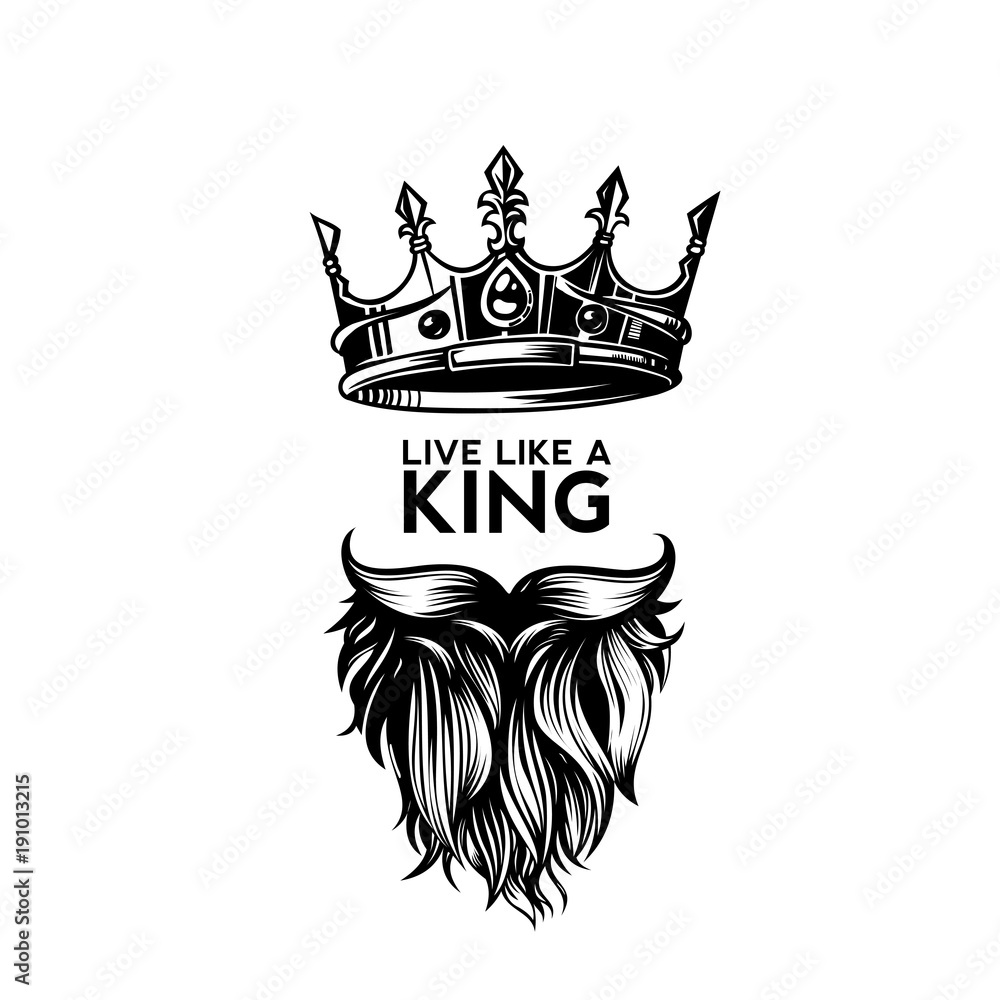 Fototapeta King crown, moustache and beard logo vector illustration