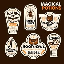 Halloween Bottle Labels Potion...