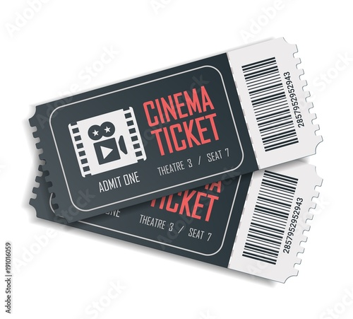 Fotografía Two cinema vector tickets isolated on white background