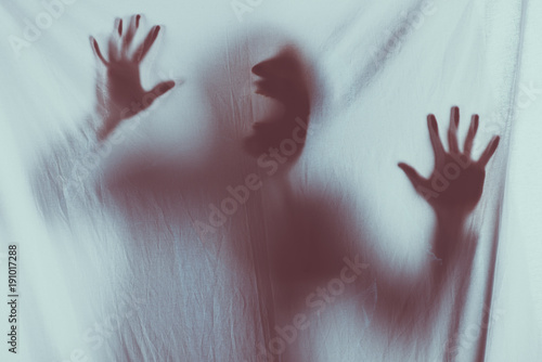 Fotografía scary blurry silhouette of unrecognizable person screaming behind veil