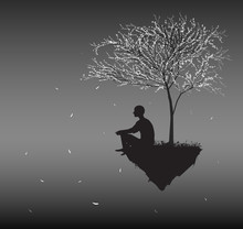 Man Sits On Flying Rock Look At Falling Cherry White Leaves And Think About Sense Of Human Life, Silhouettes Of People In The Dream Land,