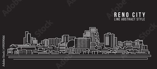 Fototapeta Cityscape Building Line art Vector Illustration design - Reno city