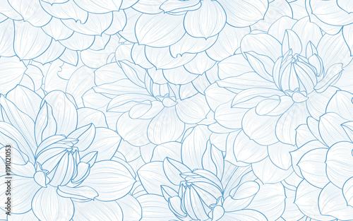 Foto  Seamless pattern with hand drawn dahlia flowers.