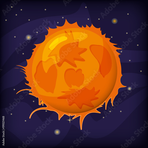 Planet fantastic on a space background, cartoon style, isolated, vector, illustration © hadeev