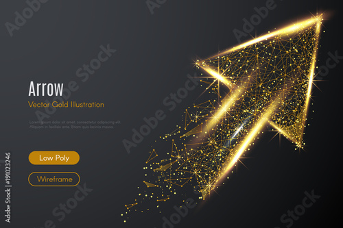 Low poly illustration of the arrow up with a golden dust effect Canvas Print