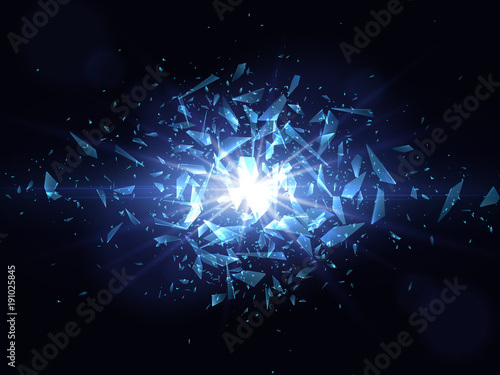 Fotografie, Obraz  Shards of broken glass. Abstract explosion. Vector illustration