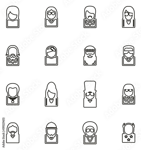 Fotografie, Tablou  Avatar Icons Famous Musicians Set 2 Thin Line Vector Illustration Set