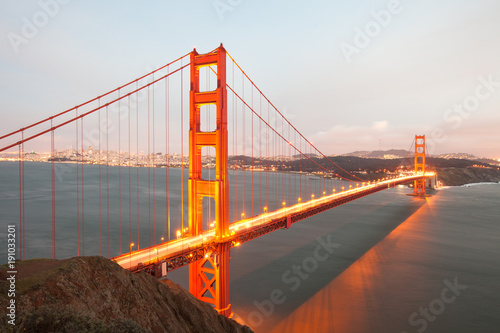 Plakat Golden Gate Bridge w San Francisco z góry w Kalifornii