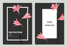 Pink Rain Lilies Flowers With White Frame On Dark Background, Invitation Card Template Design