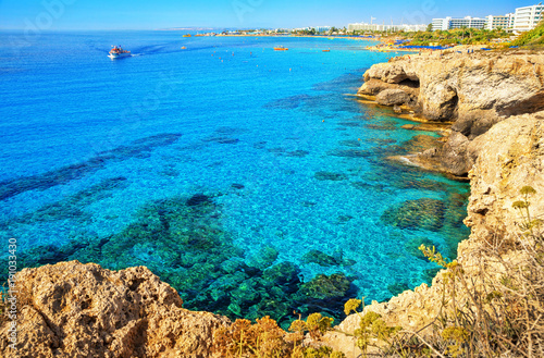Foto op Canvas Cyprus Ayia Napa coastline. Mediterranean sea of turquoise color near Cyprus.