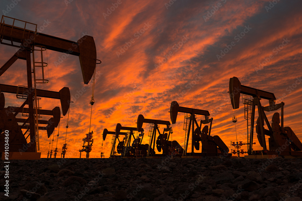 Fototapety, obrazy: 3D render of pump jacks in an oil field
