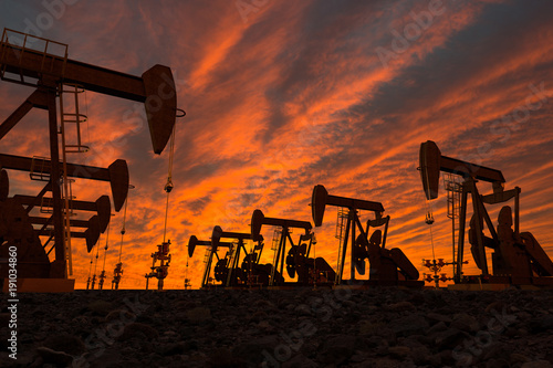 3D render of pump jacks in an oil field Obraz na płótnie