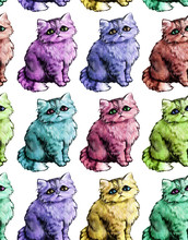 Seamless Texture. Repeating Background. Tile Pattern. Ornament With Cute Nice Cats. Adorable Colorful Kittens With Sad Look And Fluffy Fur. Modern, Pop-art Style.