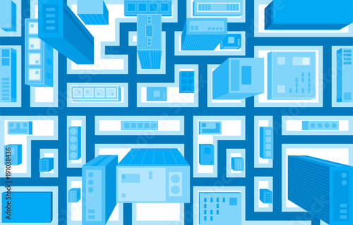Flat style vector illustration of aerial birds eye view of city with buildings and houses detailed view of city from above Wallpaper Mural