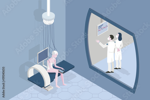 Patient in a Futuristic Hospital Horizontal Canvas-taulu