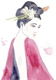 Geisha asian girl with flower in hair watercolor painting. Fashion illustration. Woman looking over shoulder. Smokey eyes - 191043292