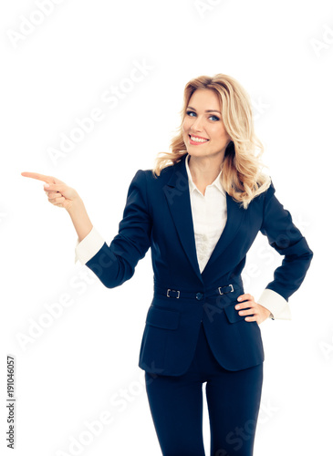 young businesswoman, showing something