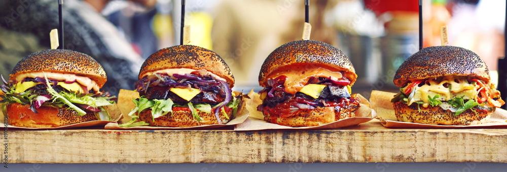 Fototapeta vegan burger in the street market