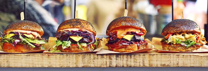 vegan burger in the street market
