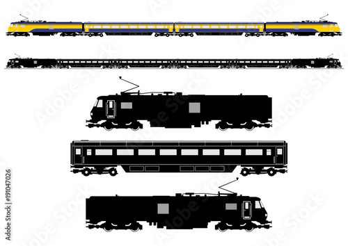 Simplified passenger train silhouette. Side view. Flat vector. Tapéta, Fotótapéta