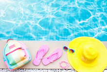 Pool And Beach Items Flat Lay....