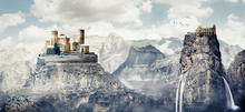 Fantasy Photomanipulation Of Medieval Landscape In Winter With Castle And Ruins