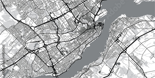 Obraz na plátně Urban vector city map of Quebec, Canada
