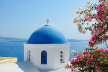 Santorini Oia Greece During Vacation With A View At The White Washed Village With Beautiful Greek Church