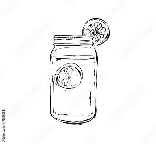 Fotografía  Hand drawn vector abstract artistic cooking ink sketch illustration of tropical lemonade shake drink in glass mason jar isolated on white background