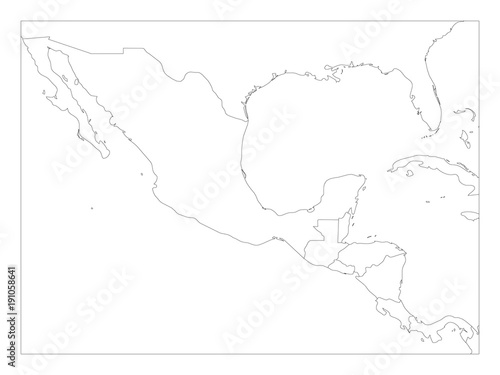 Blank Political Map Of Central America And Mexico Simple Thin Black