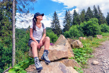Tourist Girl In Hiking Boots O...