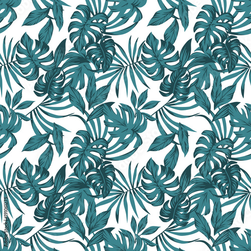 Tropical leaves abstract color seamless white background