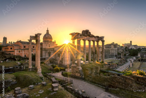 Fotografie, Obraz  Ruins of Roman's forum at sunrise, ancient government buildings , temple and shr