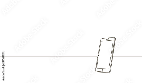 Obraz Single continuous line art smartphone. Mobile phone touch screen gadget modern technology design one sketch outline drawing vector illustration - fototapety do salonu