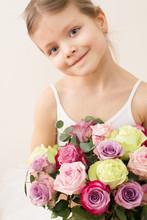 Little Ballerina With Bouquet