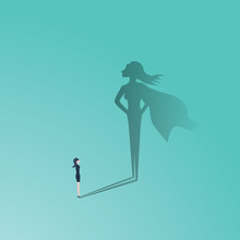 Business Woman Superhero Vector Concept. Businesswoman With Superhero Shadow. Symbol Of Confidence, Leadership, Power, Feminism And Emancipation.