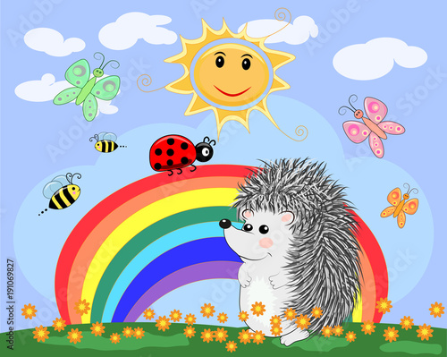 Lovely cartoon hedgehog near a seven-colored rainbow and a ladybird on a spring, Canvas Print