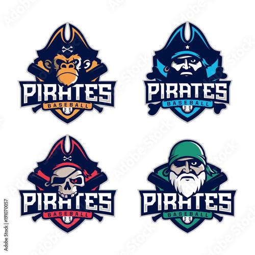 Photo Modern professional set emblem pirates for baseball team