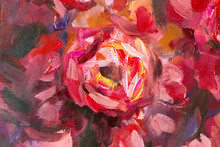 Oil Painting Close-up Flower. ...