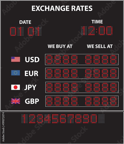 Vector Electronic Led Currency Exchange Display With Currencies Rate Of The Dollar Euro Anese Yen And Pound Sterling