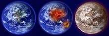 Set Of Earth Illustrate Normal And Dead Planet