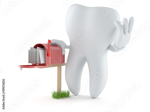 Fototapeta  Tooth character with mailbox