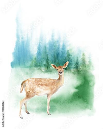 akwarela-las-mglisty-krajobraz-jelen-na