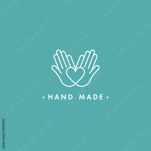 Vector hand made labels and badges in linear trendy style - hand made Fototapet