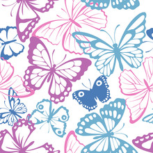 Seamless Pattern With Pink, Blue And Purple Butterfly. Vector Illustration. Spring Butterfly Silhouette
